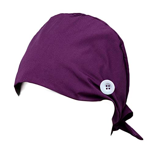 Hotme Women's and Men's Cap Working Hat with Button Sweatband Adjustable Tie Back Hats One Size Multiple Color