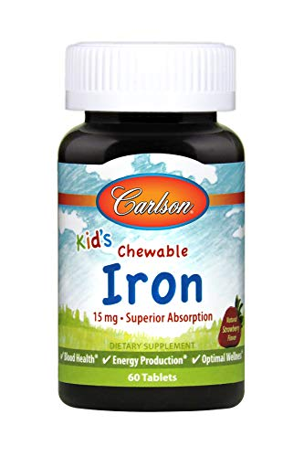Carlson - Kid's Chewable Iron, 15 mg - Superior Absorption, Blood Health, Energy Production & Optimal Wellness, Strawberry, 60 Tablets