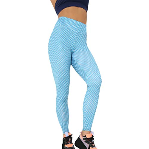 (wodceeke Women Casual High Waist Yoga Pants, Pocket Sport Pants Tummy Control Workout Running Stretch Leggings (L, Blue))