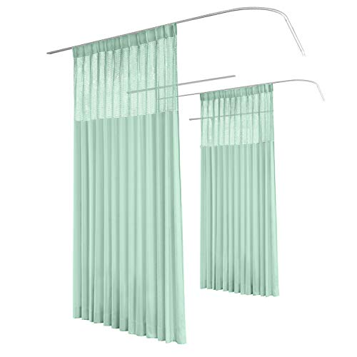 TWOPAGES 5ft Wide x 7ft Tall Pinch Pleated Medical Curtains Privacy Hospital Cubicle Curtain (1 Panel,Green) (5' Cubicles)