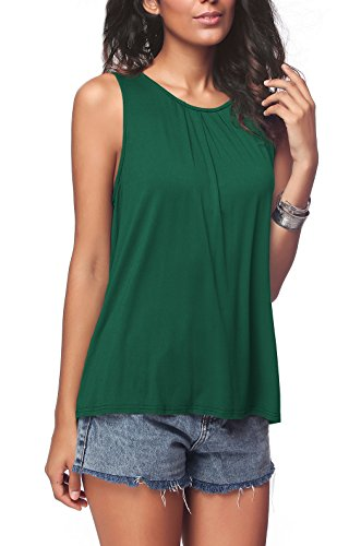 - iGENJUN Women's Summer Sleeveless Pleated Back Closure Casual Tank Tops,Green,M