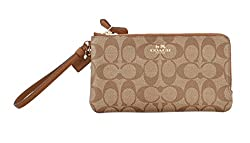 COACH SIGNATURE PVC DOUBLE ZIP WRISTLET/ WALLET - F54057 IMBDX