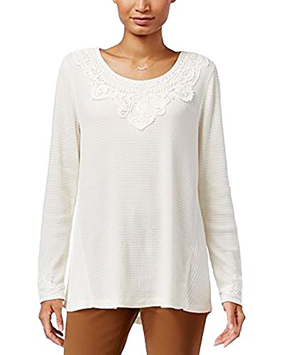 Style & Co. Womens Petites Lace-Trim Waffle-Knit Thermal Top Ivory PL (Knit Trim Tops Waffle)