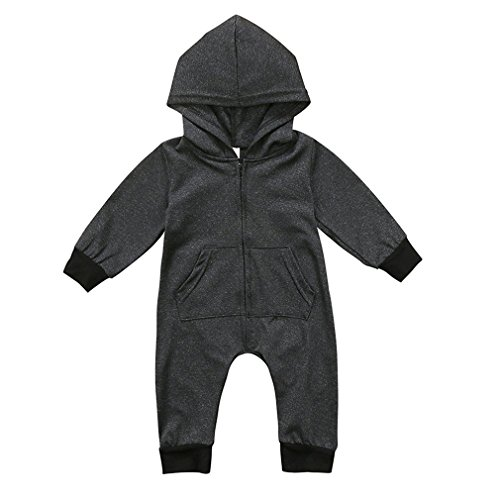 Baby Boy Girl Romper Black Snap Long Sleeve Hoodie Jumpsuit Playsuit Bobysuit Outfits (Black, 90(12-18 Months))