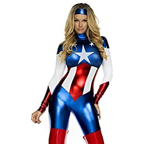Forplay Womens Star Spangled Hero Catsuit With Stripe Waist And Headband Royal Blue X Smallsmall