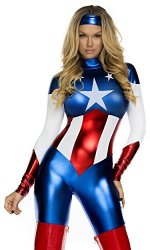 Forplay Women's Star Spangled Hero Catsuit with Stripe Waist and Headband, Royal Blue, X-Small/Small