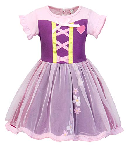 HenzWorld Rapunzel Dress Costume Girls Princess Christmas Birthday Party Outfit Kids Clothes 5-6 Years