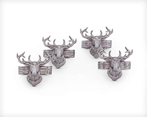 Arthur Court Aluminum Napkin Rings with Elk Head Rustic Table 3