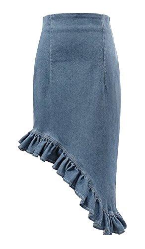 Women's Irregular Design High Waist Flounced Denim Mermaid Skirt (XL, Light blue)