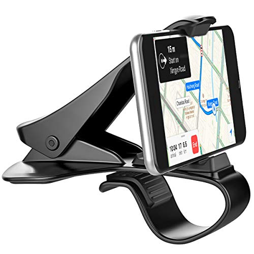 (Car Phone Holder, Dashboard Car Mount Phone Holder Cell Phone Clip for Car Dashboard Compatible with iPhone XS/X/8/7 Plus Samsung Galaxy S9/S8 Google Pixel)