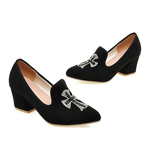 Thin Pointed 37 black Uppers Casual Fluff Low Middle Shoes Heel 5IP7q7