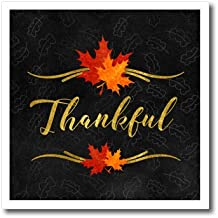 3dRose Doreen Erhardt Autumn Collection - Thankful Typography Faux Gold Leaf and Chalkboard Fall Theme - 8x8 Iron on Heat Transfer for White Material (ht_264272_1)