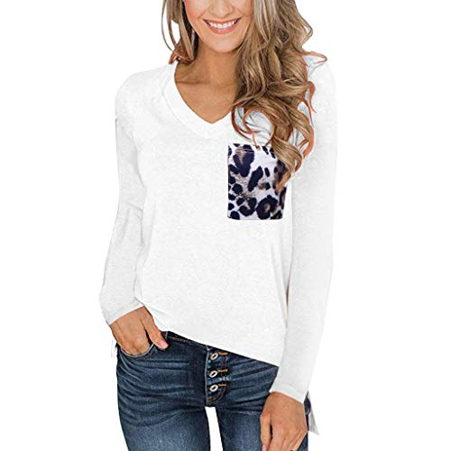 ANJUNIE Women's Long Sleeves T Shirt with Leopard Pocket V Neck Casual Tops Basic Tees(White,XL)
