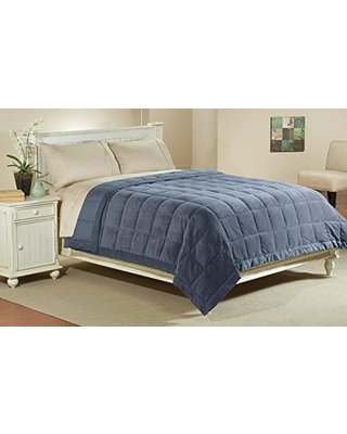 JBFF 250 Thread Count Microfiber Reverse to Fleece Goose Down Alternative Blanket, Full/Queen, Blue Jean