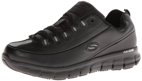 Skechers for Work Women's Sure Track Trickel Slip Resistant Work Shoe, Black, 6.5 M US (Womans Anti Slip Work Shoe)