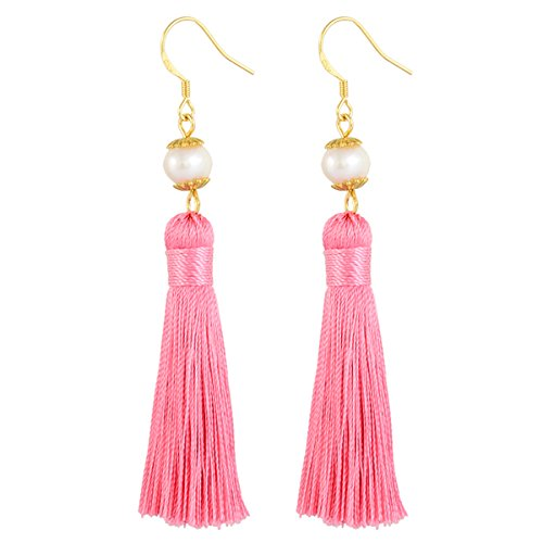 Earrings – Audrey Hepburn Breakfast at Tiffany's, Tassel 24 Karat Gold - Pink Inspired By Tiffany Pearl Earring