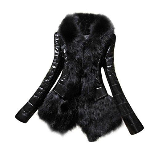 IEason New Designer Women Warm Fur Collar Coat Leather Thick Jacket Overcoat Parka (3XL, Black) (Faux Sleeve Boot Fur)