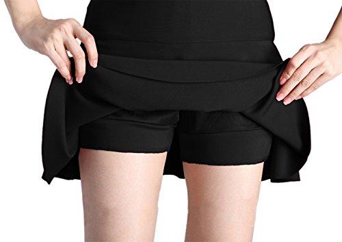 Femmes bouriffer Couches 2 Afibi en vas Extensible Patineur Mini Noir Jupes EwwqP8xC