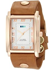 La Mer Collections Womens LMHOZ5002 Oversize Square Collection Sand Oversize Square Watch