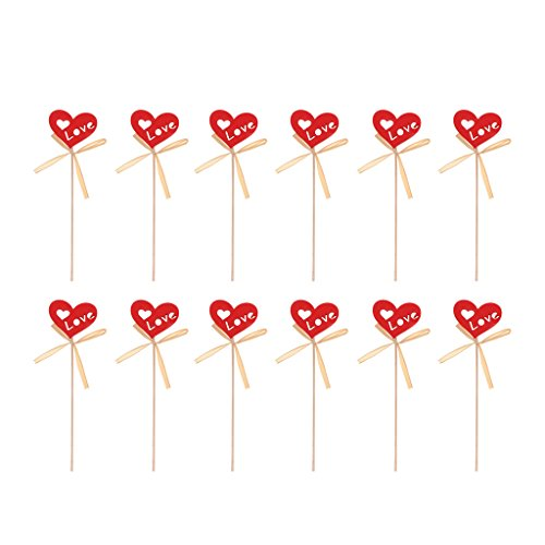 MonkeyJack Pack of 12 Rustic Grass Red Heart On Picks for Flower Arrangement Wedding Ceremony Table Centerpieces