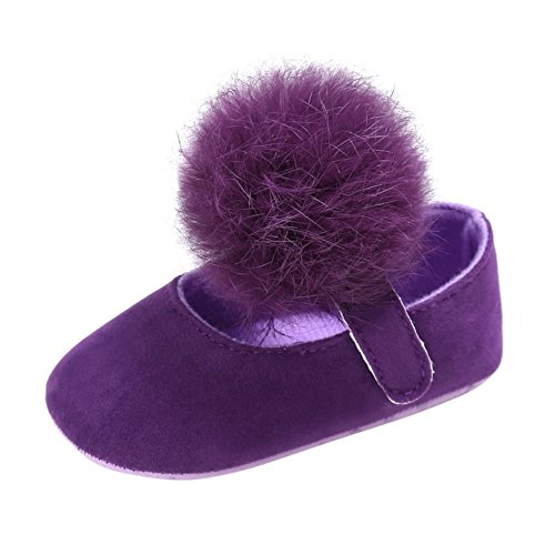 Weixinbuy Toddler Baby Girl Soft Sole Mary Jane Shoes Prewalker with Pom Pom