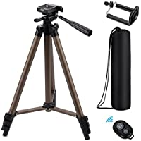 Eocean WF-3130 50-Inch Tripod, Lightweight Aluminum iPhone Tripod, Video Tipod for Cellphone and Camera, Universal Tripod + Bluetooth Remote + Cellphone Holder Mount for iPhone, Samsung, etc.