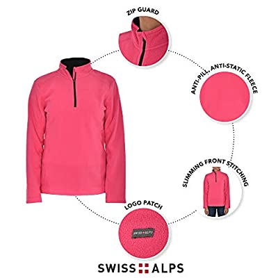 Swiss Alps Womens Quarter Zip Performance Polar Fleece Pullover Sweatshirt at Women's Clothing store