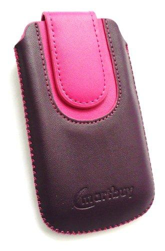 Emartbuy® Value Pack Para Samsung Galaxy S6010 Púrpura Music / Hot Rosa Pu Del Premio Slide Cuero De La Bolsa / Caja / Manga / Titular (Tamaño Mediano) Con Mecanismo Pull Tab + Compatible Micro Usb Ca