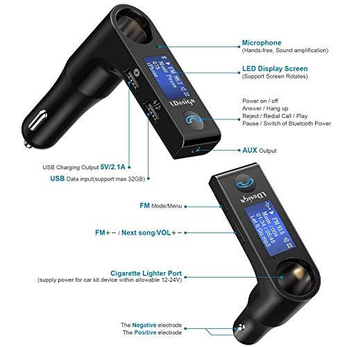Nulaxy Bluetooth Car FM Transmitter Audio Adapter Receiver Wireless Handsfree Vo