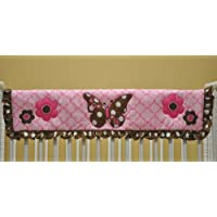 Butterflies Pink and Chocolate Crib Rail Protector