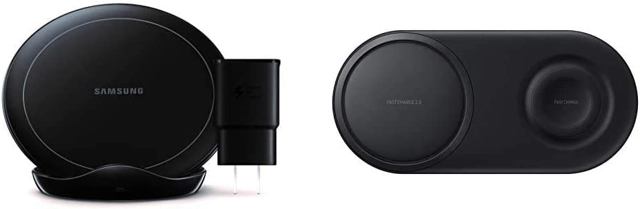 Samsung Qi Certified Fast Charge Wireless Charger Stand (2019 Edition) with Cooling Fan & Samsung Wireless Charger Duo Pad, Fast Charge 2.0 (US Version with Warranty) - Black