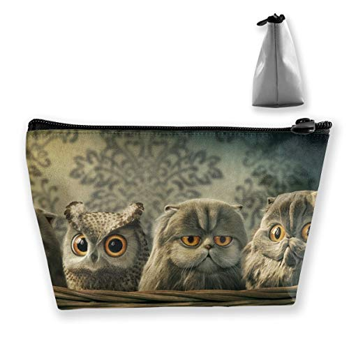 (Makeup Bag Cosmetic Owl Cat Portable Bag Mobile Trapezoidal Storage Bag Travel Bags With Zipper)