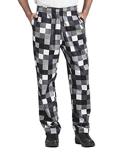 Men's Checkerboard Print Chef Pant (XS-3X) (X-Large)