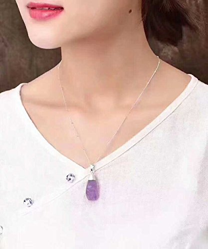 Amethyst accompanying cutting chain 925 Silver necklace pendant clavicle chain; size; 30 14 10 MM