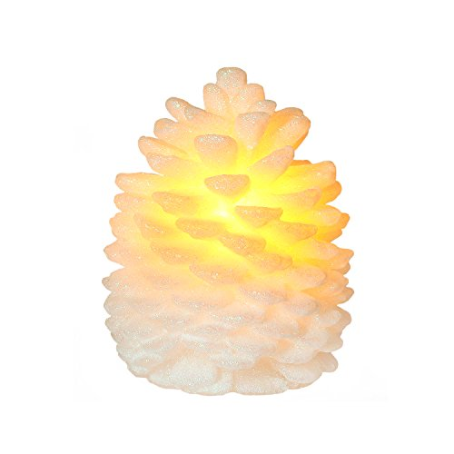 Christmas Pine Cone Led Flamesss Candle With Timer 4X5 Inch for Home Decor (Amber Santa Springs)