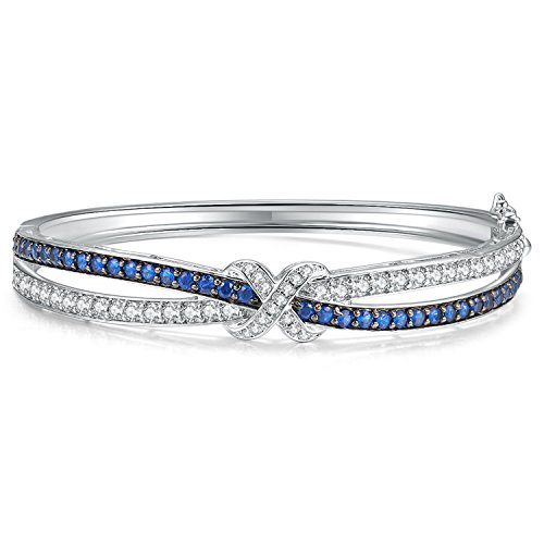 Sapphire Clasp - Caperci Love Knot Cubic Zirconia and Created Blue Sapphire Silver Bangle Bracelet for Women, 7.25''