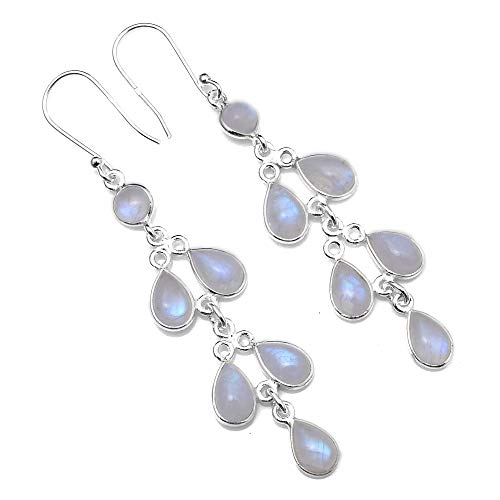 Silver Palace 925 Sterling Silver Natural Rainbow Moonstone Earrings for Women and Girls