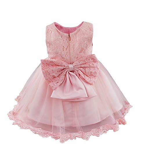 Baby Dress (FEESHOW Baby Girl Lace Flower Princess Wedding Party Pageant Birthday Tutu Dress Size 9-12 Months Pink)