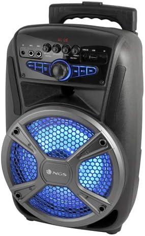 NGS Wild Mambo-Altavoz Bluetooth portátil con batería, 35W, Tipo Trolley, 4 Horas autonomía, Luces LED, Altavoz para Fiesta, entradas de Audio Micro SD, AUX IN, USB y Radio FM. Color Negro