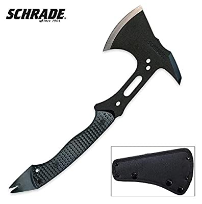 Schrade SCAXE5 12.8in Full Tang Tactical Hatchet with 3.1in High Carbon Steel Blade and Nylon Fiber Handle for Outdoor Survival, Camping and Everyday Tasks