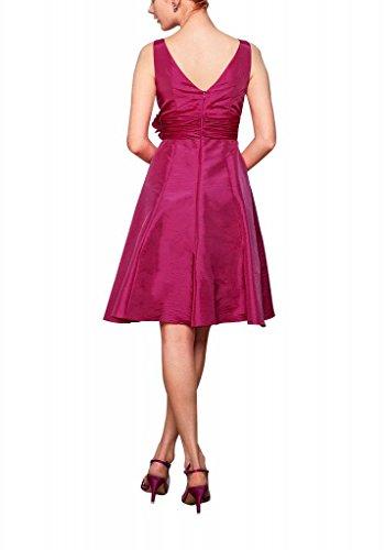 Blumen BRIDE V Kleid mit Ausschnitt Fuchsie Hand Abendkleid GEORGE Schoene Teil made Taft mit Kurze Strap 4qdnx6TwIa
