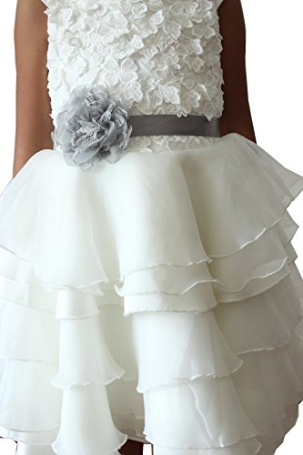 Lemandy Adorable Flowergirls Sashes Belts with a Flower for Children (silver)