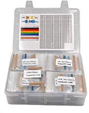 Cutequeen 1% 3350 pcs,134 Values RoHS Compliant Resistor Kit x 25pcs =3350 pcs (0 Ohm - 4.7M Ohm) 1/4W Metal Film Resistors Assortment