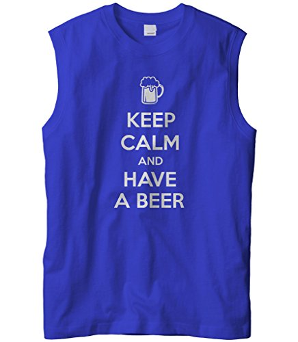 Cybertela Men's Keep Calm and Have A Beer Sleeveless T-Shirt (Royal, 2X-Large)