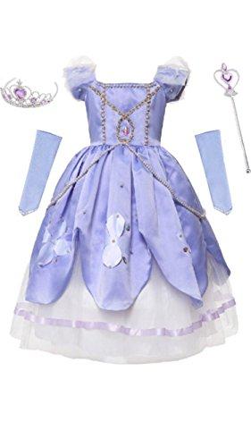 Sofia Dress, Tiara, Wand and Sleeves, 6-7 Years, (Sofia The First Disney Dress)