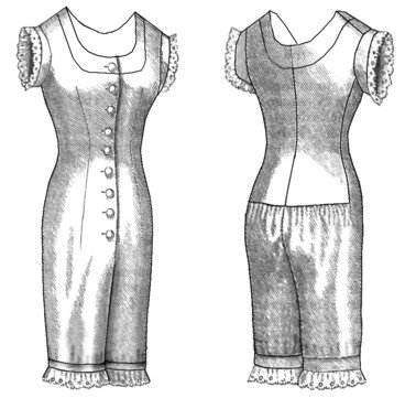 Victorian Lingerie – Underwear, Petticoat, Bloomers, Chemise 1876 Combination Underwear Sewing Pattern $14.75 AT vintagedancer.com