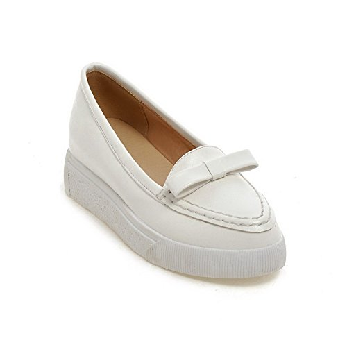 Amoonyfashion Donna Pull-on Pu Tacco A Punta Chiusa Tacco Alto Scarpe-scarpe Bianche