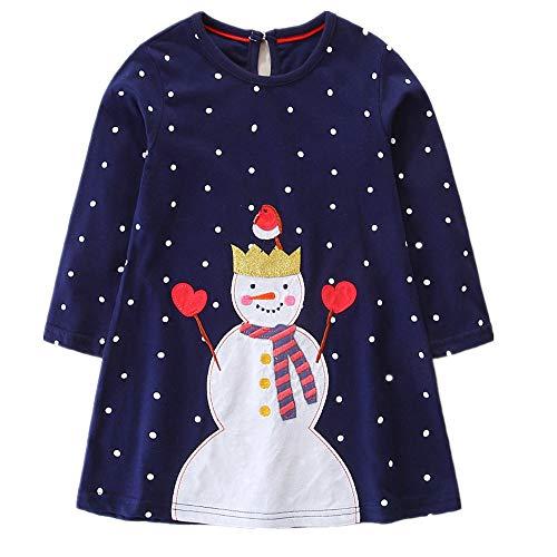HILEELANG New Cute Little Toddler Baby Girl Long Sleeve Cotton Applique Dresses 2-7 - Felt Applique Snowman