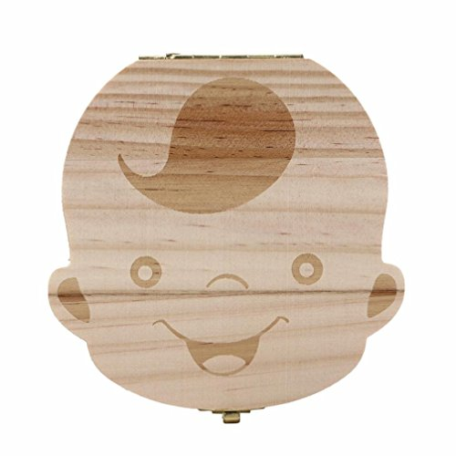 Lookatool Wood Tooth Box organizer for baby Milk teeth Save Wood storage box for kids Boy&Girl (boy)