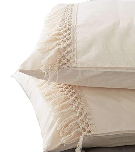 Cheapest Prices! Flber Tassel Sham Set Cotton Pillow Covers,18.9in x29.1in,Set of 2